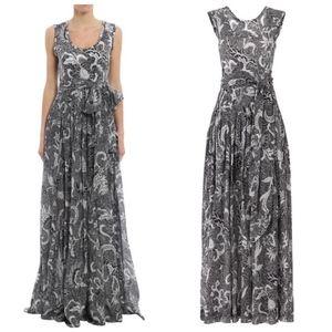 DVF Black Cotton Silk Pleated Floral maxi dress